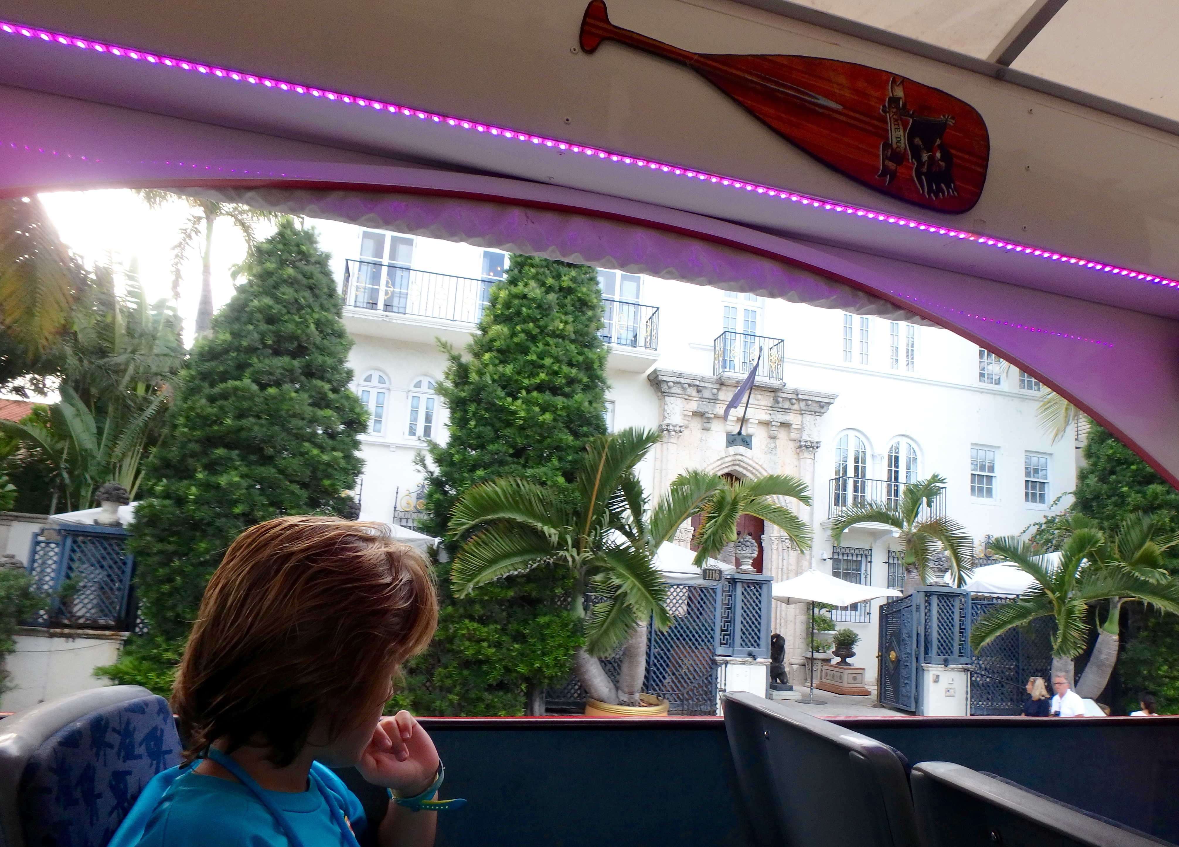 ZZ Ninja Kid: Planes, Trains, Boats & Autos #12 Amphibious Pirate Bus/Boat tour Miami - Gianni Versace Mansion